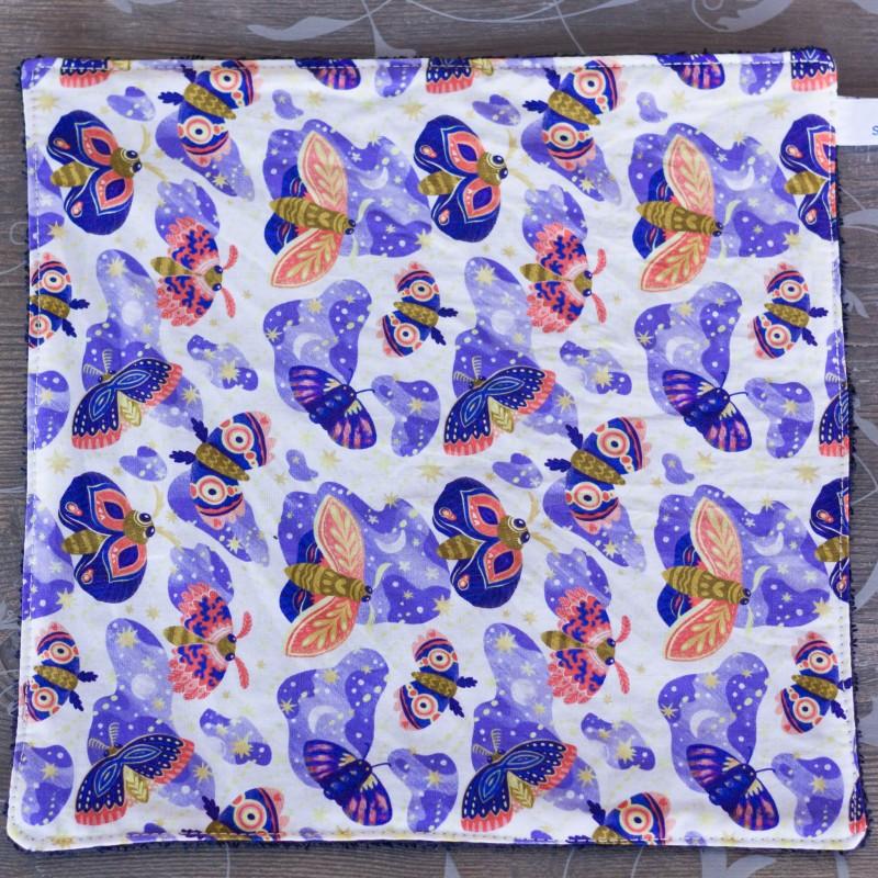 feuille d'essuie tout lavable en coton bio papillons violets