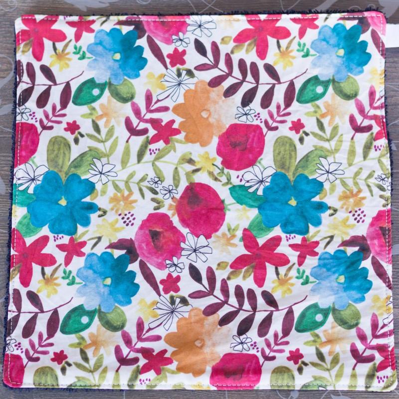 feuille d'essuie tout lavable en coton bio grandes fleurs rouges et bleues