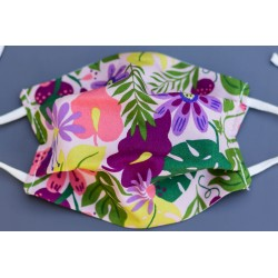 masque en coton bio enfant jungle tropical violet rose