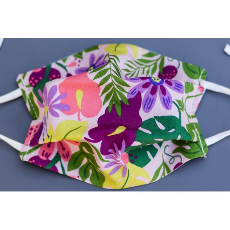 masque en coton bio enfant jungle tropical violet rose