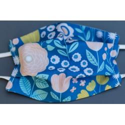 masque en coton bio enfant bleu clair grandes fleurs
