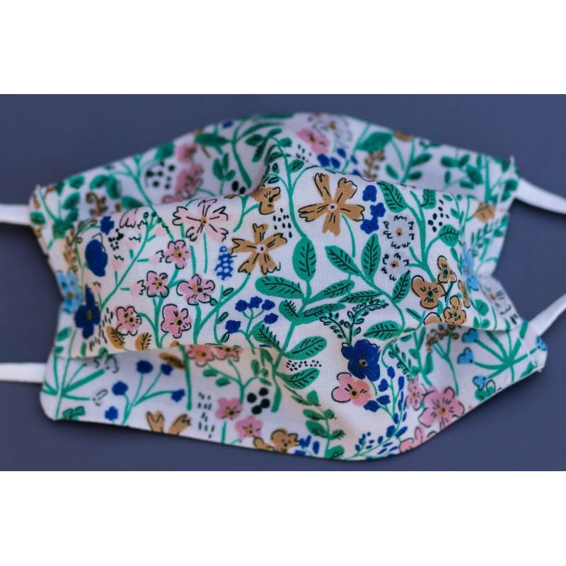masque en coton bio enfant petites fleurs vertes et roses