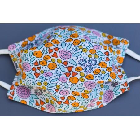 masque en coton bio enfant petites fleurs multicolores