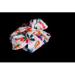 savon emballé avec un carré de tissu en coton bio chaussettes de noel sapins