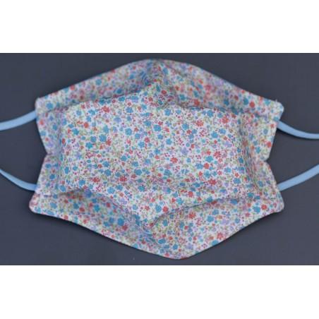 masque en coton bio adulte petites fleurs bleues