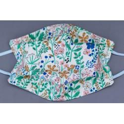 masque en coton bio adulte fleurs vertes et roses