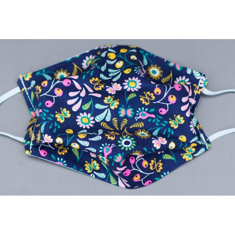 masque en coton bio adulte bleu marine petites fleurs roses