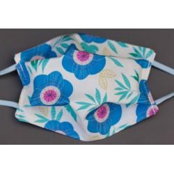 masque en coton bio enfant blanc grandes fleurs bleues