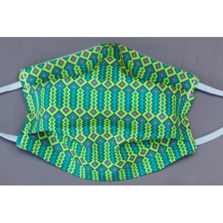 masque en coton bio enfant géométrique vert et bleu