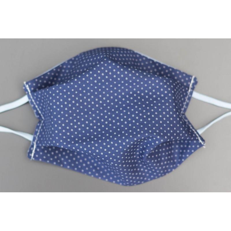 masque en coton bio adulte bleu marine pois gris