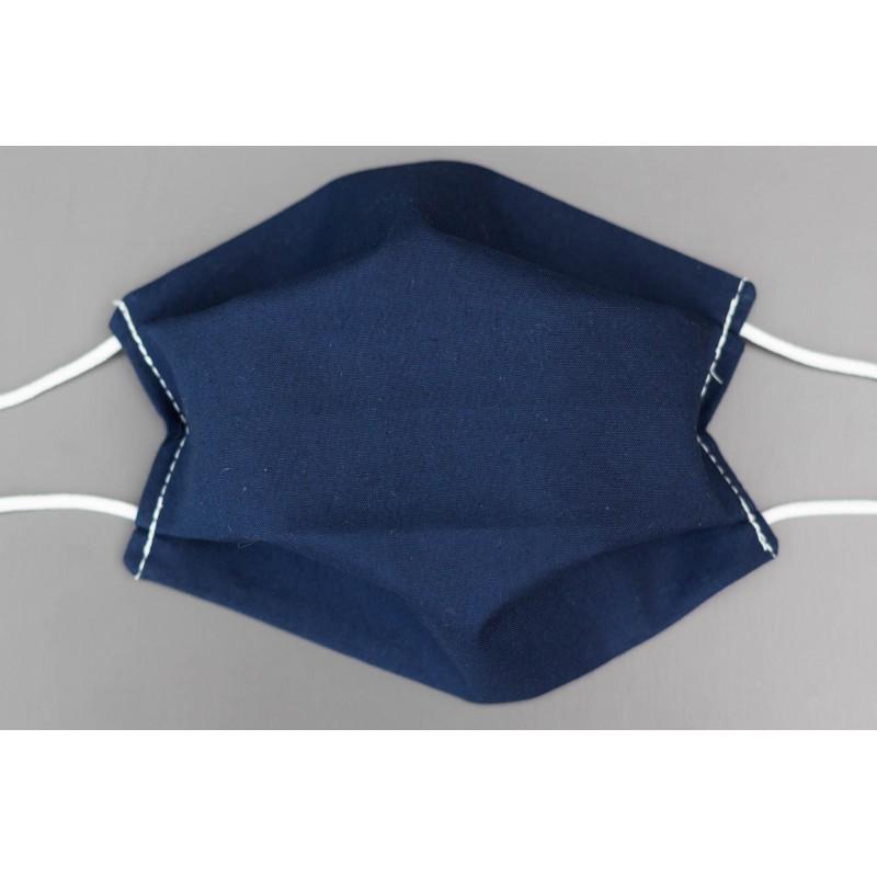 masque en coton bio adulte uni bleu marine