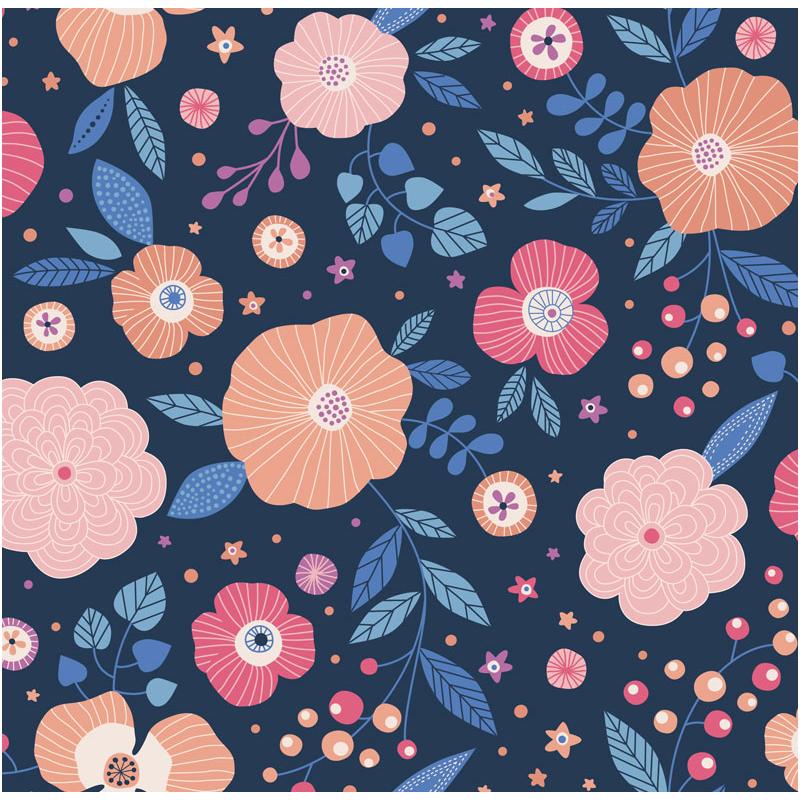 carré de coton bio bleu foncé grandes fleurs