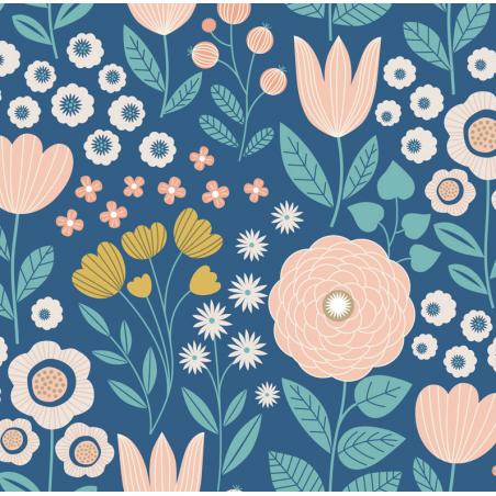 carré de coton bio bleu clair grandes fleurs