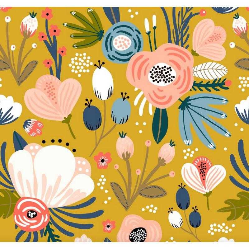 carré de coton bio moutarde grandes fleurs