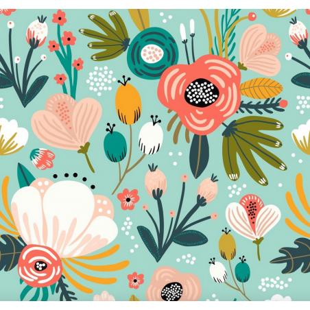 carré de coton bio vert grandes fleurs