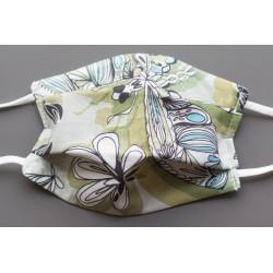 masque en coton bio enfant vert papillons