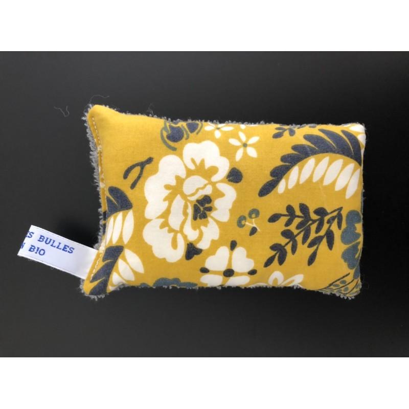 éponge lavable bio fleurs moutarde