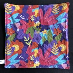 feuille d'essuie tout lavable en coton bio fleurs feuilles multicolores
