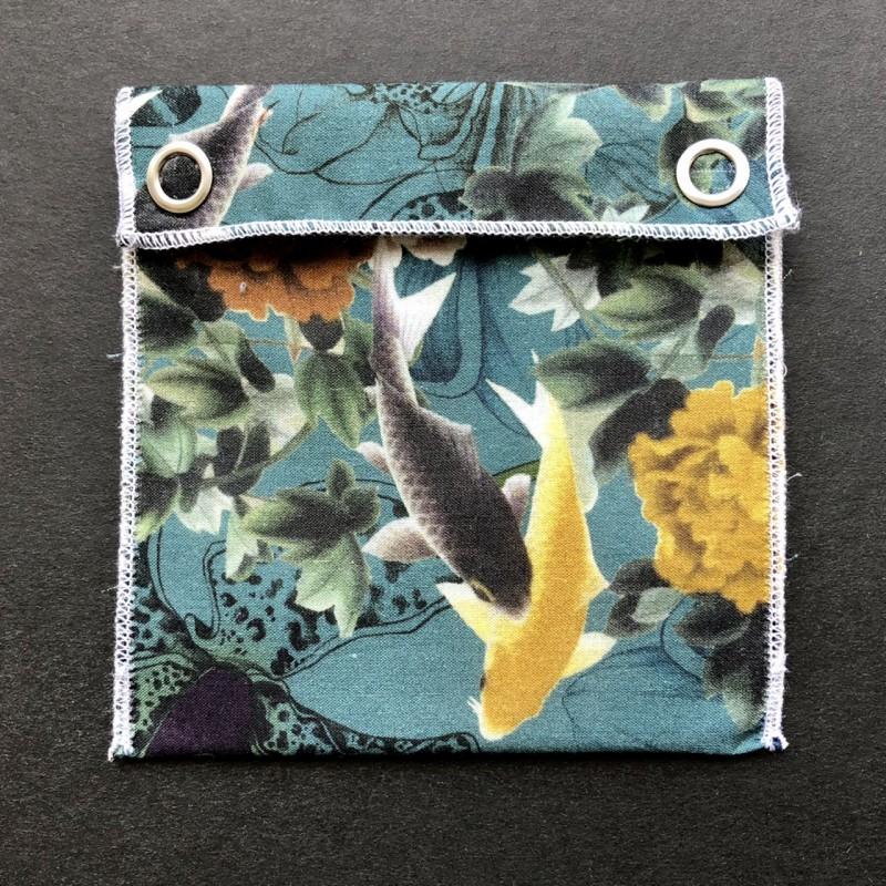 pochette imperméable en coton bio japonais poissons