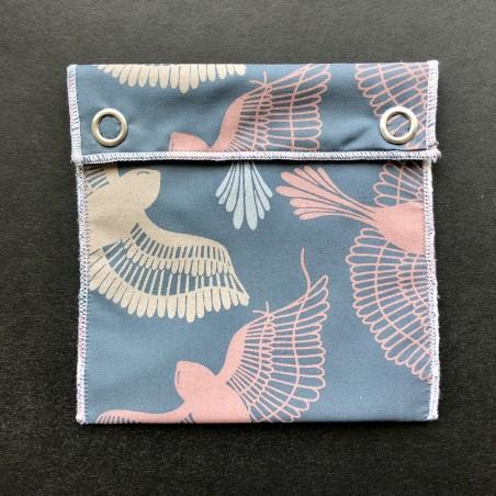 pochette imperméable en coton bio oiseaux