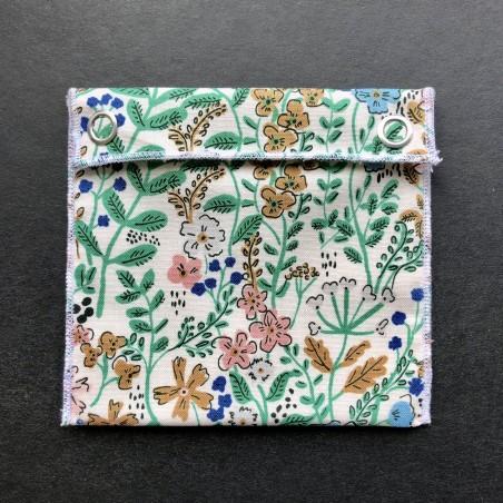pochette imperméable en coton bio feuillages verts